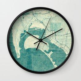 San Diego Map Blue Vintage Wall Clock