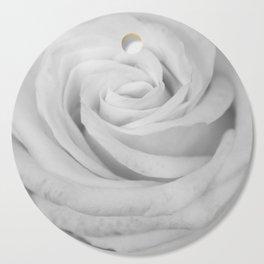 Single white rose close up Cutting Board