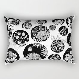 Flowers pattern ink art black and white Rectangular Pillow
