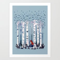 The Birches (in Blue) Art Print
