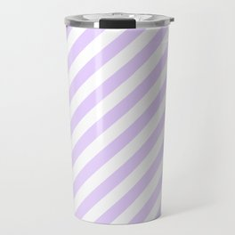 Chalky Pale Lilac Pastel and White Candy Cane Stripes Travel Mug
