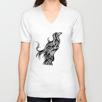 nordic V-neck T-shirts featuring Nordic Raven by Jeremy Buckley illustration