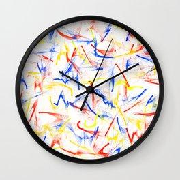 Red, Yellow, Blue Fun Confetti Pattern Wall Clock