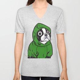Boston Terrier Green Hoodie Unisex V-Neck