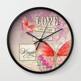Modern Damask Butterfly Wings, Love Takes Flight Wall Clock