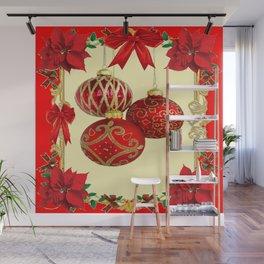 RED CHRISTMAS POINSETTIAS FLOWER CHRISTMAS ORNAMENTS Wall Mural
