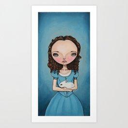 Alice Holding a bunny Art Print