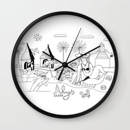 Funny Figurative Line Drawing of Alys Beach Community on 30a Wall Clock