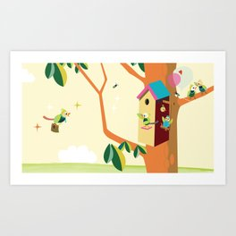 Daddy comes home from work. Art Print