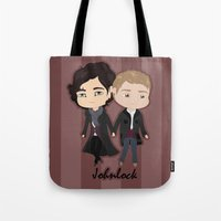 johnlock Tote Bags featuring Johnlock by Alex Mathews