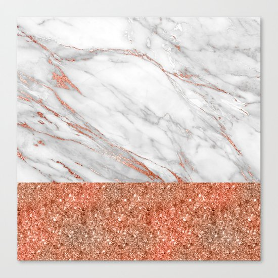 Luxury and glamorous pink glitter and white marble Canvas Print