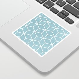 Light Blue and White - Geometric Textured Cube Design Sticker