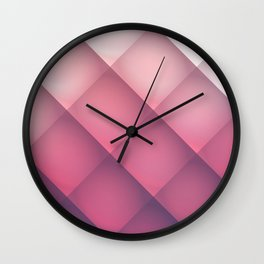 Claret, Pink and White Mosaic Background Wall Clock