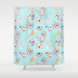 Pink & Teal Summer Fun Flower Ice Cream Cone - Pattern Shower Curtain
