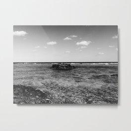 B&W Okinawa, Japan Beach Ocean View Metal Print