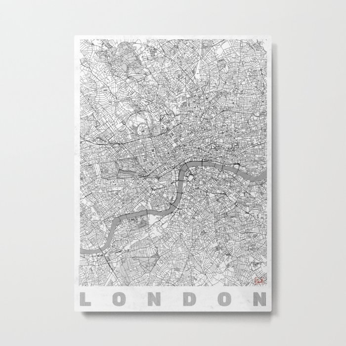 London Map Line Metal Print