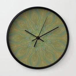 olive green mandala center swirl Wall Clock