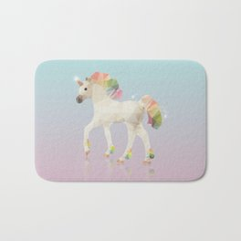 Colorful Unicorn Low Poly Polygonal Illustration Bath Mat