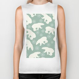 Polar Bears and Snowflakes Biker Tank
