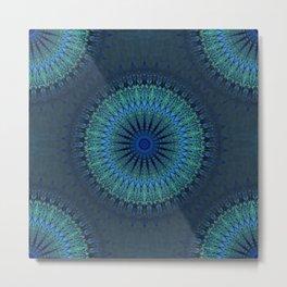 Dark Blue Boho Mandala Metal Print