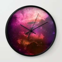 Floating Dolphins in mystic light Wall Clock