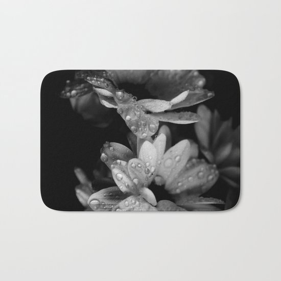 Flower and drops. Black and white. Bath Mat