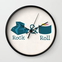 rock and roll Wall Clocks featuring Rock&Roll by Natalia Ogneva