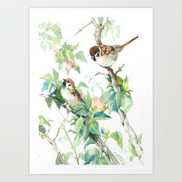 Sparrows And Apple Blossom, bird art Sage, teal green Vintage style floral bird art Art Print