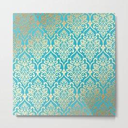 Teal Gold Mermaid Damask Pattern Metal Print