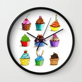 Illustration of tasty cupcakes Wall Clock