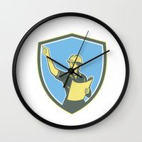 engineer Wall Clocks featuring Female Construction Worker Engineer Shield Retro by patrimonio