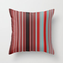 Red and Aqua Blue Line Pattern with Black Throw Pillow