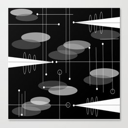 Atomic Space Age Black Canvas Print