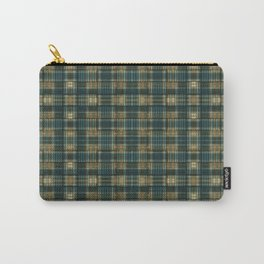 Green/Blue/Orange Plaid/Hounds-tooth Mix Carry-All Pouch
