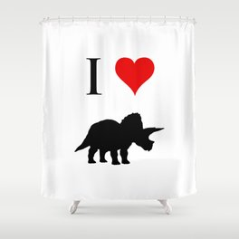 I Love Dinosaurs - Triceratops Shower Curtain