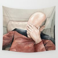 meme Wall Tapestries featuring Picard Facepalm Meme by Olechka