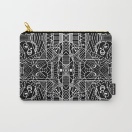 Black and White Tribal Geometric Pattern Print Carry-All Pouch