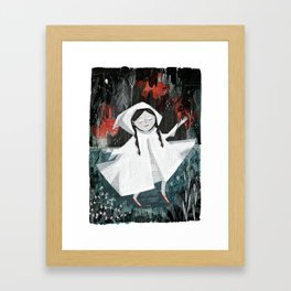 Red Shoes on Curtain Day Framed Art Print