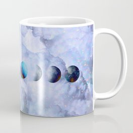Moon Phases on Cloudy Blue Magic Sky #moontravel #decor #collage Coffee Mug