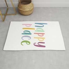 Happy Place | Motivational Colourful Typography Rug