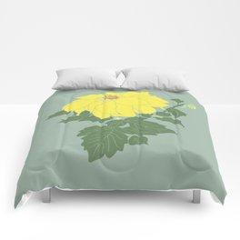Yellow Dahlia Flower Illustrated Print Comforters