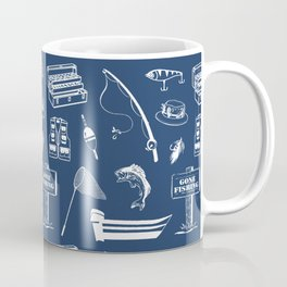 Gone Fishing // Navy Blue Coffee Mug