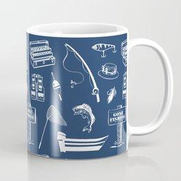 Gone Fishing // Navy Blue Coffee Mug