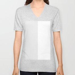 White and Pale Gray Vertical Halves Unisex V-Neck