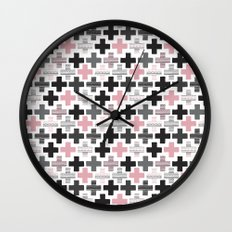 Geometric cross illustration plus sign pattern Wall Clock