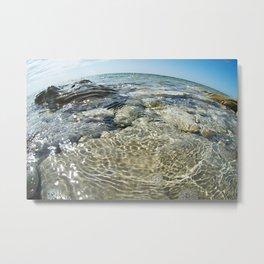 Beautiful water surface on rocky seashore Metal Print