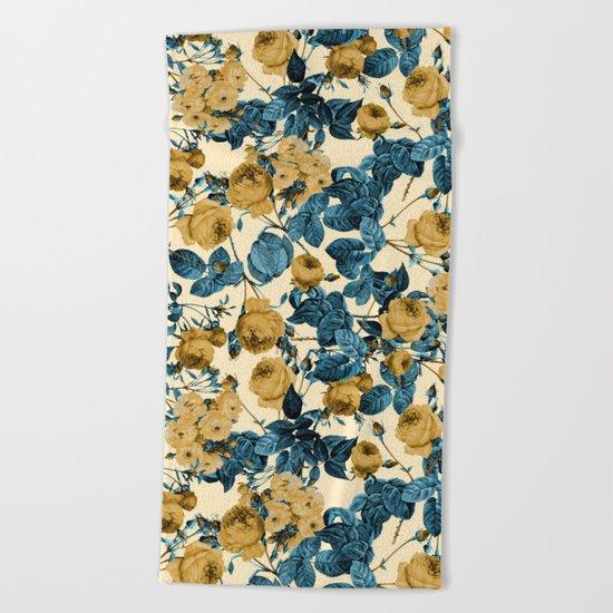 80's summer garden Beach Towel