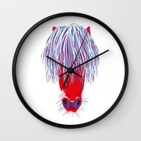 pony Wall Clocks featuring Pony by FTF by marge fellerer