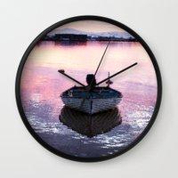 boat Wall Clocks featuring Boat by Dora Birgis