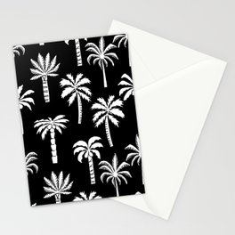 Palm Trees linocut black and white tropical summer art minimalist decor Stationery Cards